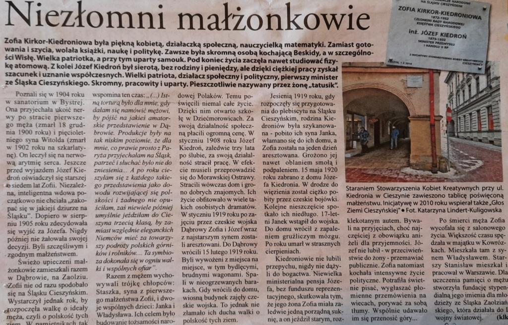 Tablica Kiedroniów ufundowana przez Stowarzyszenie KKK